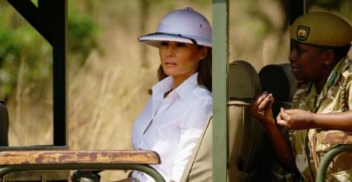 Media blast Melania Trump for wearing 'colonial' white pith helmet on Kenya safari