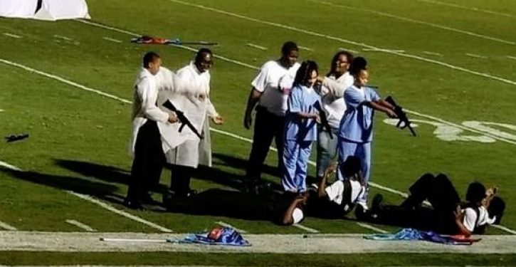 For HS halftime show students dress as doctors, nurses hold SWAT team members at gunpoint