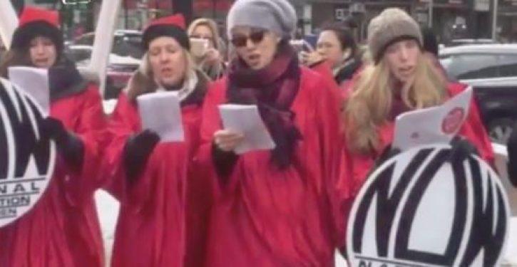 Abortion activists sing sacrilegious Christmas carols: 'Hark! the nasty women sing, glory to the NuvaRing'