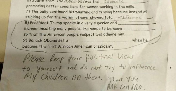 11-year-old docked points on school test for not bashing Trump