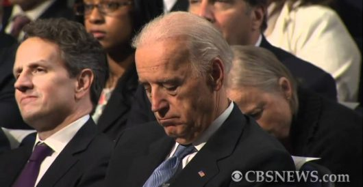 Biden appears to fall asleep during Hillary Clinton's endorsement by LU Staff
