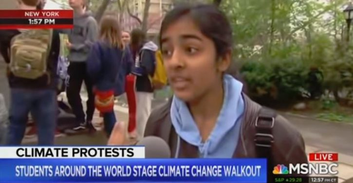 MSNBC gives kudos to kids cutting weeks of school for climate change