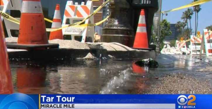 Hmm: Tar, gas bubble from Wilshire Blvd next to L.A.'s La Brea Tar Pits