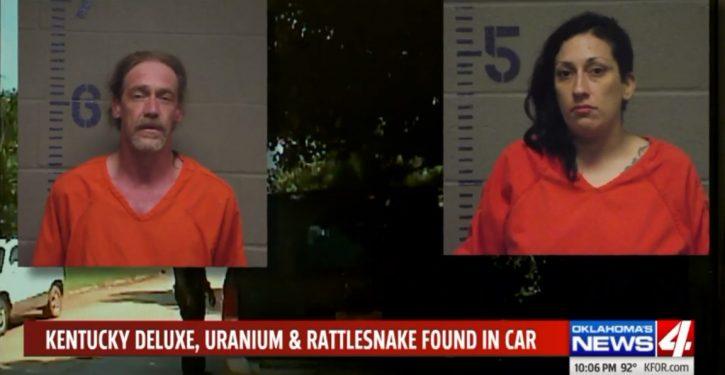 Oklahoma couple in routine traffic stop found with stolen vehicle, rattlesnake, uranium