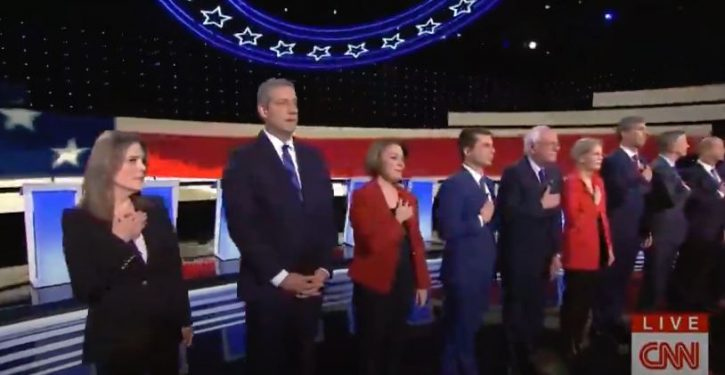 At debate, Dem candidate fails to place hand over heart during national anthem