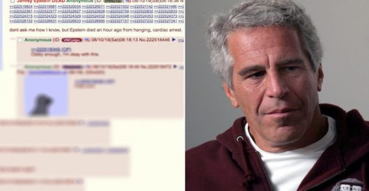 Epstein death posted on 4chan 40 minutes before news became public by Jeff Dunetz