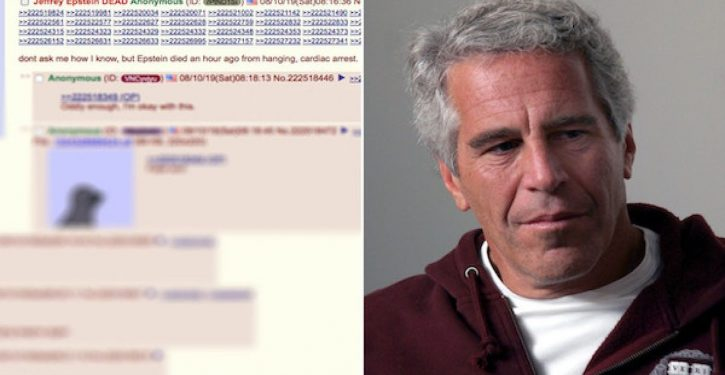 Epstein death posted on 4chan 40 minutes before news became public