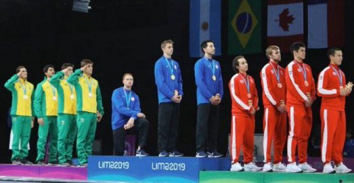 U.S. fencing medalist kneels during national anthem at Pan Am Games