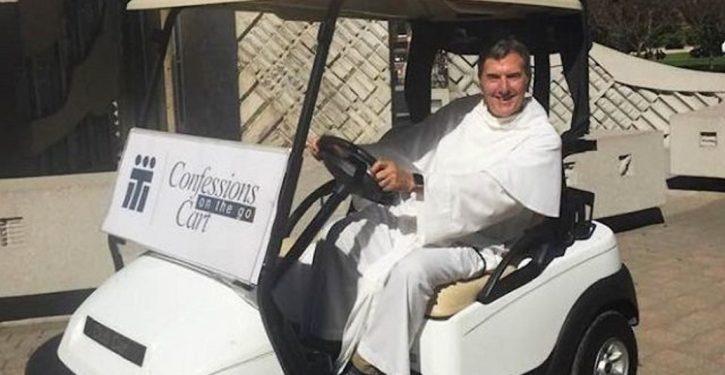 Campus priest on golf cart offers unique service