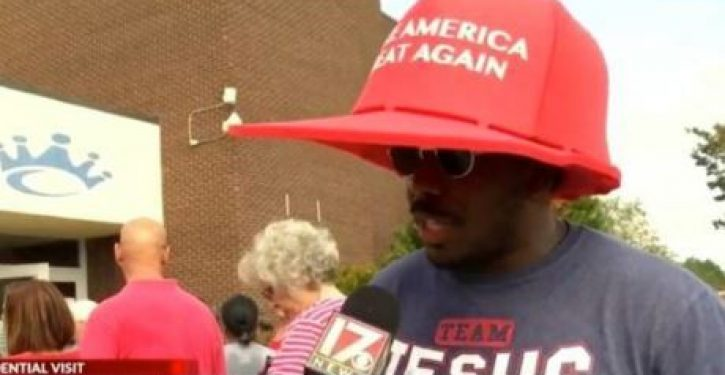 Black Trump fan at NC rally explains why he bought biggest MAGA hat he could find