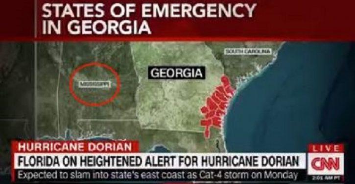 CNN map showing progress of Dorian also labels Alabama 'Mississippi'