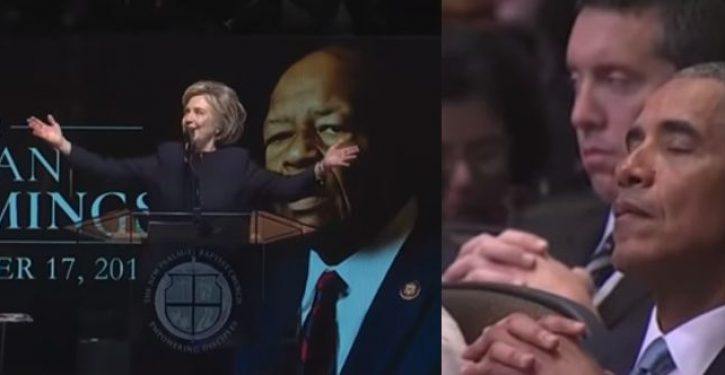 Did Obama falls asleep during Hillary Clinton's speech at Elijah Cummings funeral?