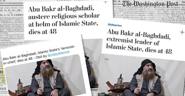 WaPo changes headline — twice — to downplay al-Baghdadi's terrorist ties