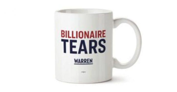 Warren's 'Billionaire Tears' mug is sold through a billionaire-run company