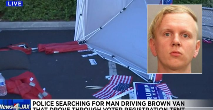 Arrest report: Man who drove van into GOP tent in Jacksonville motivated by hatred of Trump
