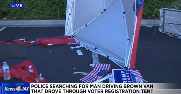 Florida: Van drives through Republican voter registration tent, driver flips off Republicans