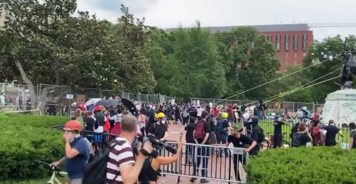 VIDEO: Unhinged protesters scream at cops after being stopped from toppling WH park statue
