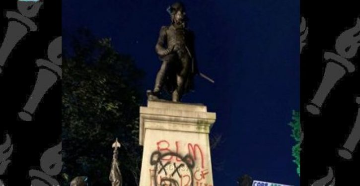 Historically ignorant BLM protesters deface statue of war hero who helped blacks