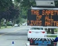 Massachusetts: Police chief investigates alarming wording of mobile traffic safety sign