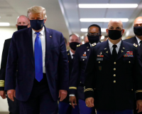 Trump wears mask in visit to Walter Reed