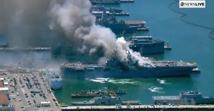 Navy fear: USS Bonhomme Richard, still burning in San Diego, may be damaged beyond repair