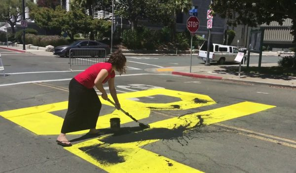 The empire strikes back: White anti-BLM protesters paint over 'Black Lives Matter' slogan by Ben Bowles