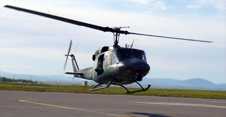 Air Force helo from support squadron for presidential detail shot at over northern Virginia