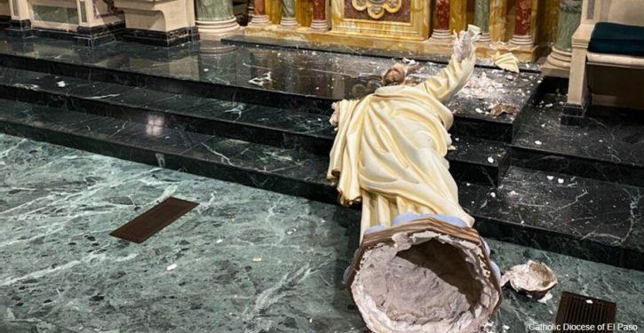 El Paso church's Sacred Heart of Jesus statue destroyed by woke identity vandal