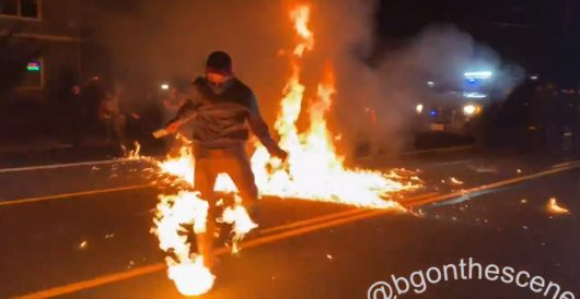 On 100th night of Portland protests, protester set on fire by Molotov cocktail by Ben Bowles