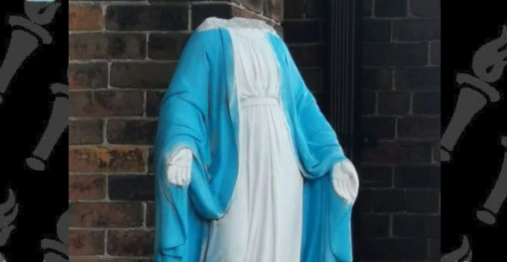 Vandals behead Virgin Mary statue as attacks on Catholic symbols continues