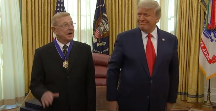 In 'mask-free' ceremony, President Trump awards Medal of Freedom to Coach Lou Holtz