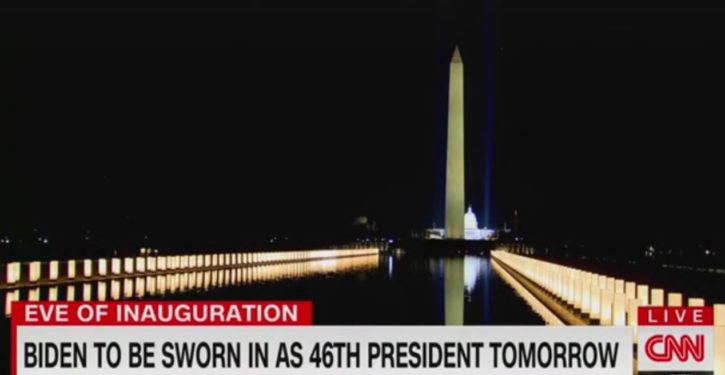 CNN: Lights along reflecting pool like 'extensions of Joe Biden's arms embracing America'