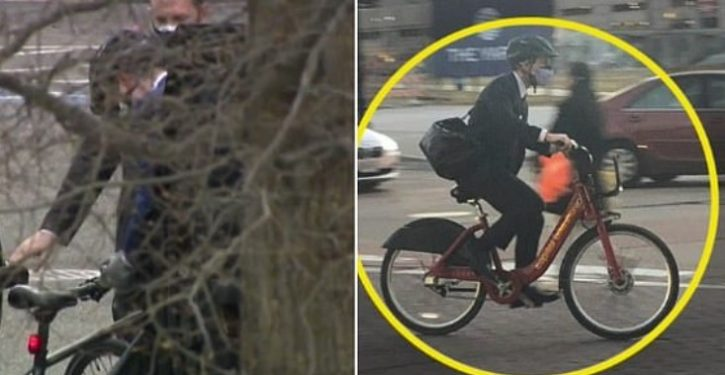 Sec. Buttigieg arrives at WH cabinet meeting on eco-friendly bicycle. Just one problem