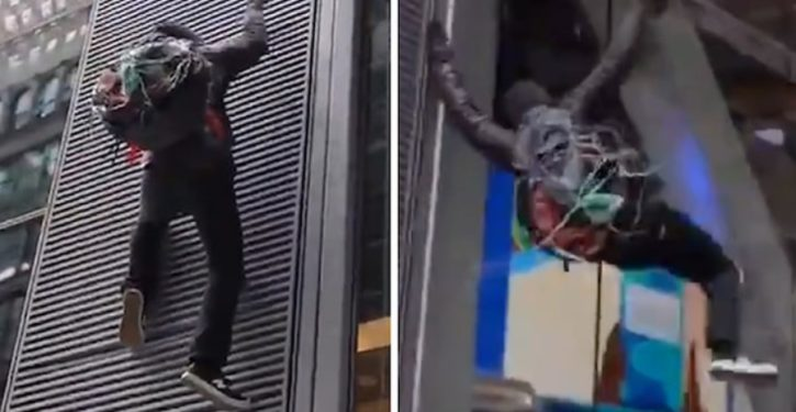 Anti-capitalist protester scaling Chase Bank in NYC loses grip, falls 30 feet