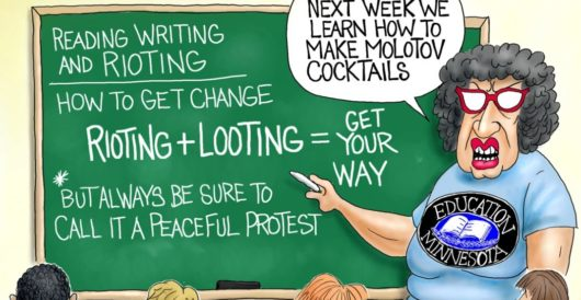 Cartoon of the Day: Reading, writing, and rioting by A. F. Branco