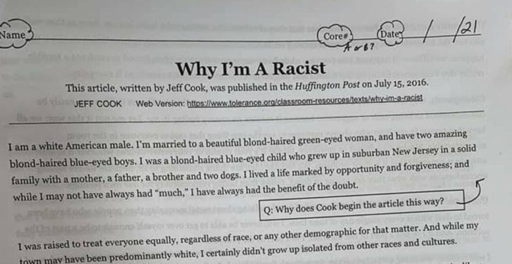 California middle schoolers get assigned HuffPo op-ed, 'Why I'm a Racist'