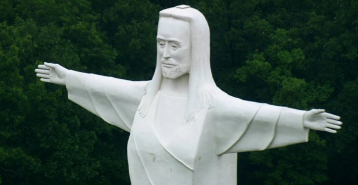 'God Bless Abortions' banner hung overnight on Christ of the Ozarks statue