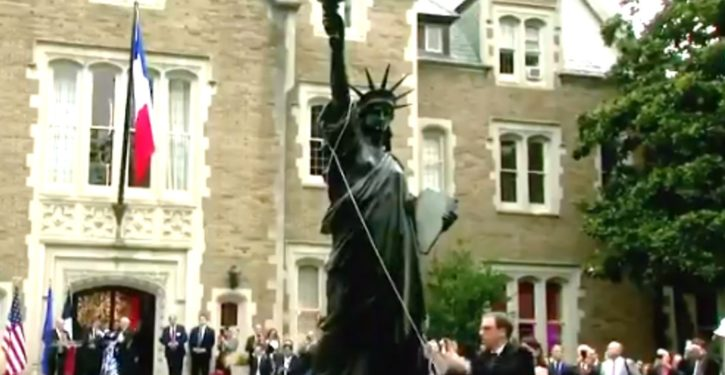 French-loaned Statue of Liberty replica unveiled at ambassador's residence in D.C.