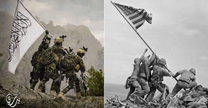 Taliban troll U.S. with mocking image imitating World War II flag-raising on Iwo Jima